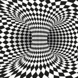 Geometrische Vierkante Zwart-witte Optische illusie Abstracte wormholetunnel Abstract ontwerpkader van wormhole royalty-vrije illustratie