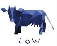 Geometrische Volumenkuh Blaue Kuh des Emblems lizenzfreie stockfotos