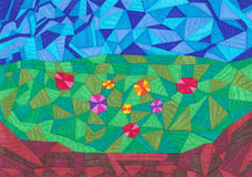 Geometrische vormen kleurrijke achtergrond Stock Foto's