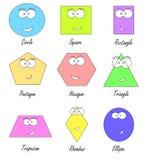Geometrische vormen met grappige gezichten Stock Foto's