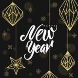 Geometrische Weihnachtsdekorationen und -beschriftung Glückliches neues Jahr! Lizenzfreies Stockbild