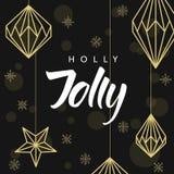 Geometrische Weihnachtsdekorationen und -beschriftung Holly Jolly! Stockfotografie