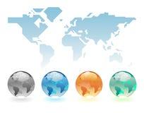 Geometrische Weltkarte und -kugeln Stockbild