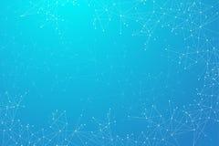 Geometrische Zusammenfassung verbundene Linie mit Punkten Große Datensichtbarmachung Molekül und Kommunikations-Hintergrund Stockfoto
