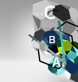 geometrische Zusammensetzung des Hexagons 3d, geometrischer digitaler abstrakter Hintergrund Lizenzfreie Stockfotos