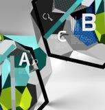 geometrische Zusammensetzung des Hexagons 3d, geometrischer digitaler abstrakter Hintergrund Stockfotografie