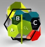 geometrische Zusammensetzung des Hexagons 3d, geometrischer digitaler abstrakter Hintergrund Stockbilder