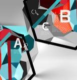 geometrische Zusammensetzung des Hexagons 3d, geometrischer digitaler abstrakter Hintergrund Lizenzfreies Stockbild