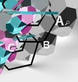 geometrische Zusammensetzung des Hexagons 3d, geometrischer digitaler abstrakter Hintergrund Stockfotos