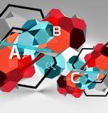 geometrische Zusammensetzung des Hexagons 3d, geometrischer digitaler abstrakter Hintergrund Stockfoto