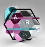 geometrische Zusammensetzung des Hexagons 3d, geometrischer digitaler abstrakter Hintergrund Lizenzfreie Abbildung