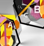 geometrische Zusammensetzung des Hexagons 3d, geometrischer digitaler abstrakter Hintergrund Lizenzfreie Stockfotografie