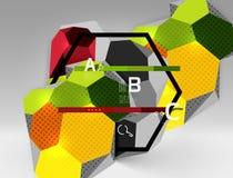 geometrische Zusammensetzung des Hexagons 3d, geometrischer digitaler abstrakter Hintergrund Lizenzfreie Stockbilder