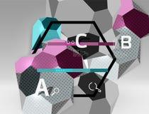 geometrische Zusammensetzung des Hexagons 3d, geometrischer digitaler abstrakter Hintergrund Stock Abbildung