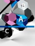 geometrische Zusammensetzung des Hexagons 3d, geometrischer digitaler abstrakter Hintergrund Stockbild