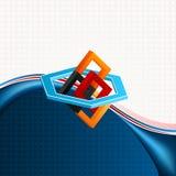 Geometrische Zusammensetzung von drei Maßen mit Hexagonen und Quadraten auf geometrischem linearem Design Stockfoto