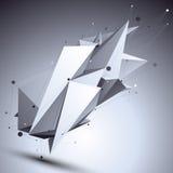 Geometrische zwart-wit veelhoekige structuur met modern draadnetwerk, Royalty-vrije Stock Foto
