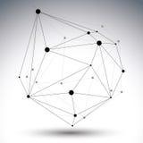 Geometrische zwart-witte veelhoekige structuur met draadnetwerk Stock Foto