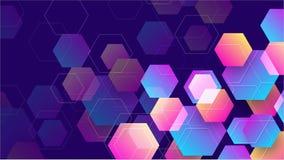 Geometrischer abstrakter Hexagonhintergrund mit Blauem, Purpurrotem, Rosa und Orange Hintergrund des Vektor Eps10 vektor abbildung