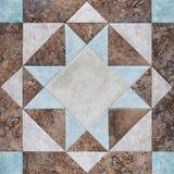 Geometrischer Block des Patchworks von den Stücken Geweben, Detail der Steppdecke Stockbild