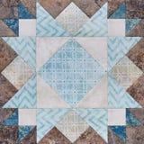 Geometrischer Block des Patchworks von den Stücken Geweben, Detail von quil Lizenzfreie Stockfotos