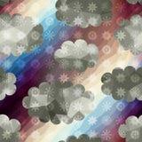Geometrischer Himmel mit Schneefällen Stockfotos