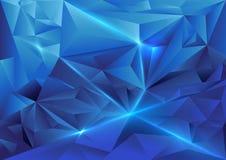 Geometrischer Hintergrund der blauen abstrakten Dreiecke Stockfotografie