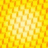 Geometrischer Hintergrund der Goldwand von den Würfeln mit goldenen Gesichtern Stockfotografie