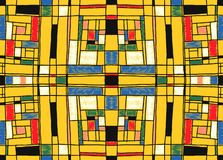 Geometrischer Hintergrund in der Mondrian-Gitterart Knall Art Pattern Nahtlose Verzierung mit abstrakten Quadraten stock abbildung