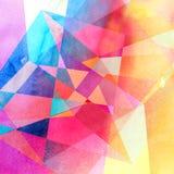 Geometrischer Hintergrund des abstrakten Aquarells Stockbilder