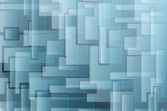 Geometrischer Hintergrund mit blauen Quadraten Stockfotos