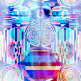 Geometrischer Kreishintergrund des abstrakten Aquarells Stockbild