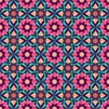 Geometrischer nahtloser Hintergrund von abstrakten Blumen Stockbild