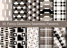 Geometrischer nahtloser Musterhintergrund Satz von 10 abstact Motiven Lizenzfreies Stockfoto