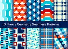 Geometrischer nahtloser Musterhintergrund Satz von 10 abstact Motiven Lizenzfreie Stockfotos