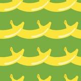 Geometrischer nahtloser Musterretrostil der Banane auf grünem Hintergrund Packpapier, Gutschein, Plakat, Fahnendesign Hauptdekor, stock abbildung