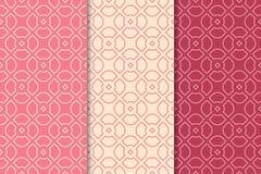 Geometrischer Satz des Kirschrotes nahtlose Muster Stockbilder