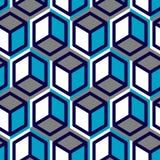 Geometrischer Vektor des nahtlosen abstrakten Würfels, kühles Muster stockbild