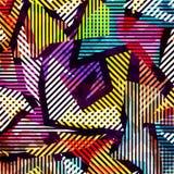 Geometrisches abstraktes Farbmuster in der Graffitiart Qualitätsvektorillustration für Ihr Design stockfotografie