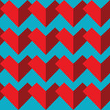 Geometrisches abstraktes nahtloses Muster mit zwei Schatten von rote Farbherzelementen auf blauem Hintergrund in der Mosaikfliese Stockbilder