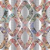 Geometrisches buntes griechisches Oval formt nahtloses Muster Silberner dekorativer Hintergrund des Vektors 3d Griechische Schlüs vektor abbildung