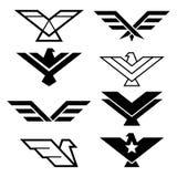 Geometrisches Design Eagles, Adler ` s Flügelikonen stellte, grafische Elemente der Adler - moderne Art ein stock abbildung