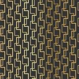 Geometrisches Goldfunkelndes nahtloses Muster auf dem schwarzen Hintergrund Stockbilder