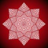 Geometrisches Mandalabild auf rotem Hintergrund Lizenzfreies Stockfoto