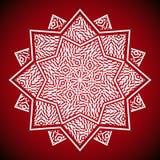 Geometrisches Mandalabild auf rotem Hintergrund Stockfoto