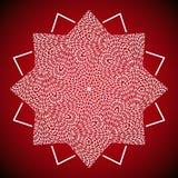 Geometrisches Mandalabild auf rotem Hintergrund Stockbild
