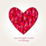 Geometrisches Mosaik-Herz für Valentinsgruß-Tag Stockfotografie