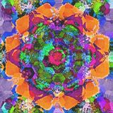 Geometrisches Mosaikdesign der Pastellarabeskenfliese mit Aquarelleffekt lizenzfreies stockfoto