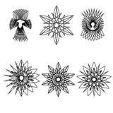 Geometrisches Muster der Astrologie gesetztes pentogramm Lizenzfreie Stockfotografie