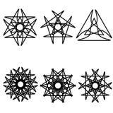 Geometrisches Muster der Astrologie gesetztes pentogramm Stockbilder
